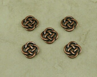 5 TierraCast Celtic Open Round Knot Link Charms > St Patricks Day Irish -  Copper Plated Lead Free Pewter - I ship internationally 3033