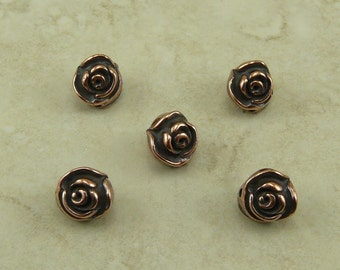 Rose Flower Beads TierraCast Qty 5 > Floral Garden Bride Bridal Wedding Spring - Copper Plated Lead Free Pewter - I ship Internationally NP