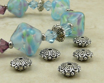 Oasis Ornate Rondelle Beads > Bali Style Exotic Beautiful Qty 5 - TierraCast Fine Silver plated Lead Free Pewter- I ship internationally NP