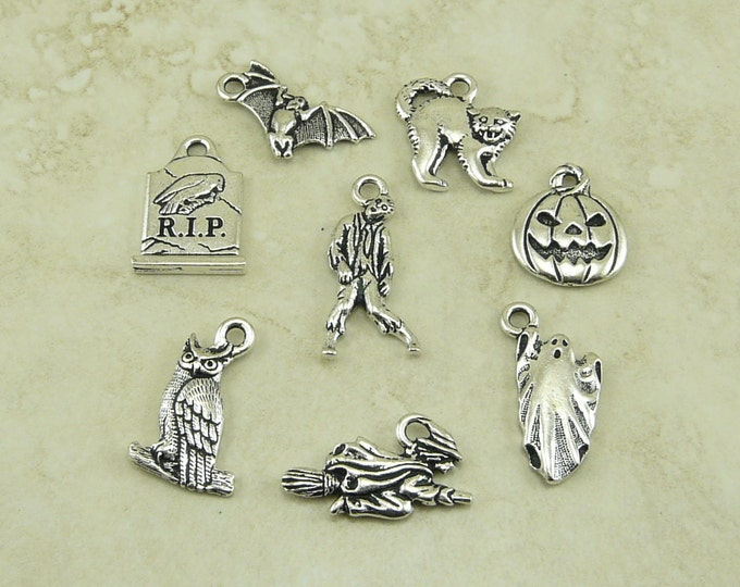 Featured listing image: TierraCast Halloween 8 Charm Mix Pack - All Hallows Eve October 31 Trick or Treat - Silver Plated Lead Free Pewter - I ship Internationally