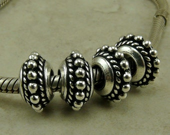 11mm Beaded Twist Euro Bead > Exotic Bali Style Ornate Qty 4 - TierraCast Fine Silver Plated Lead Free Pewter - I ship Internationally NP