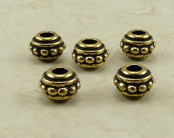 7mm Beaded Large Hole Beads > Bali Style Ornate Spacer Qty 5 - TierraCast 22kt Gold Plated Lead Free Pewter - I ship Internationally NP
