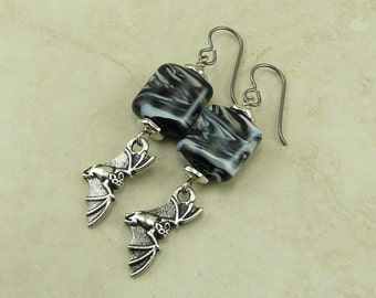 Bat Flying in the Midnight Sky Lampwork Bead Earrings - Vampire Goth Gothic Halloween - Hypoallergenic Niobium Ear Wires
