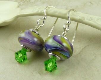 Hawaiian Tropics Lampwork Bead & Swarovski Crystal Earrings - Purple Green Lavender Peridot - Sterling Silver French Ear Wires