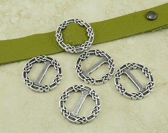 4 TierraCast Celtic Knot End Bar Slide Leather Ribbon Finding Buckles * Fine Silver Plated Lead Free Pewter - I ship Internationally 3184
