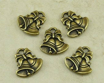 5 TierraCast Jingle Bells Charms - Christmas Holiday - Brass Ox-plated Lead Free Pewter - I ship Internationally - 2349