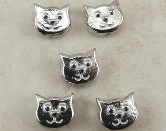 5 TierraCast Cat Face Beads - Feline Kitty Meow Pet Companion > Silver Plated LEAD FREE Pewter - I ship Internationally - 5557