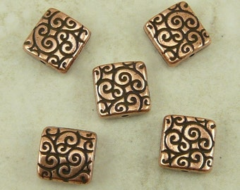 5 TierraCast Ornate Swirl Square Scroll Beads - Copper Plated Lead Free Pewter - I ship internationally