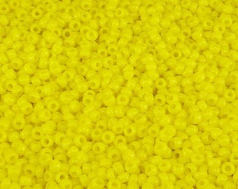 TOHO 11/0 Round Seed Beads - Opaque Frosted Sunshine Yellow - 20 gram Bag - Vibrant Lemon Sunny Sun Day Glow - Color Code 42BF - Jar 107
