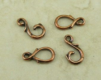 Vine Hook and Eye Clasps > Art Nouveau Victorian Ornate Qty 2 - TierraCast Copper Plated Lead Free Pewter - I ship internationally NP