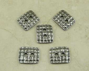 Button Rectangle Hammertone Industrial Steampunk Texture TierraCast Qty 5 Antiqued Silver Plate LEAD FREE Pewter I ship Internationally 6561