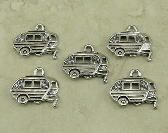 5 Travel Vintage Trailer Camper Charms > Family Adventure Glamping Fun - Raw American Made Lead Free Pewter Silver - I ship internationally