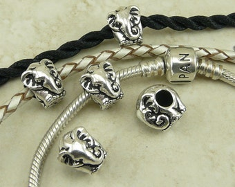 4 TierraCast Elephant Animal Euro Beads * Sacred Animal Jungle Book - Fine Silver Plated Lead Free Pewter - I ship Internationally 5763