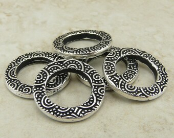 5 TierraCast 5/8 Spiral Ring Bead Links > Swirl Doodle Celtic - Fine Silver Plated Lead Free Pewter - I ship Internationally - 3138-12