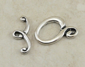 1 TierraCast Melody Swirl Toggle Clasp - Silver Plated LEAD FREE pewter - I ship internationally 6091