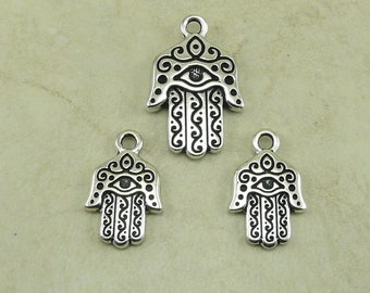 3 TierraCast  Hamsa Hand Pendant & Charm Mix > Peace Love Protection Spiritual - Fine Silver-plated Lead Free Pewter I ship Internationally