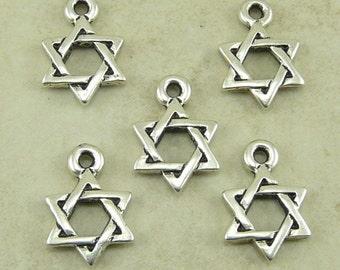 Star of David Charms > Jewish Hanukkah Holiday Religion Qty 5 - TierraCast Fine Silver Plated Lead-Free pewter - I ship Internationally NP