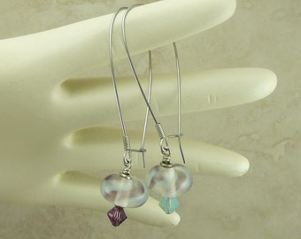 Lavender Sea Foam Green Mist Lampwork Beads & Swarovski Earrings - Purple Lavender Green - Surgical Steel Kidney Ear Wires