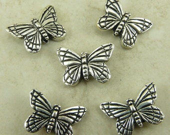 5 TierraCast Monarch Butterfly Beads * Insect Bug Butter Fly Garden Flower - Silver Plated Lead Free Pewter - I ship Internationally NP
