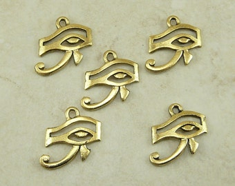 5 Eye of Ra Egyptian Charms > Symbol Sun God Horus - Raw American made,  Lead Free Pewter in Gold Tone Finish - I ship internationally