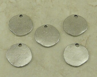 Round Disk Tag Blank Stampable Charms > DIY Personalize Yourself Stamp Altered American Made Lead Free Pewter Silver I ship Internationally