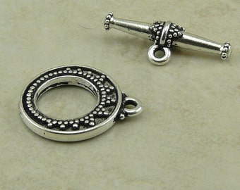 1 TierraCast Ornate Tapered Bali Toggle Set - Silver Plated LEAD FREE Pewter - I ship Internationally 6088
