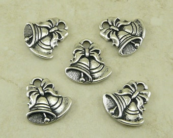 5 TierraCast Jingle Bells Charms Christmas Holiday - Fine Silver Plated Lead Free Pewter - I ship Internationally 2349