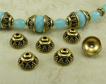 6 TierraCast 8mm Bali Bead Caps > Ornate Triangle Exotic Triangle Dots - 22kt Gold Plated Lead Free Pewter - I ship Internationally 5568