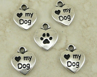 Love My Dog Heart Charms > Doggy Puppy Canin Companion Qty 5 - TierraCast Silver-plated Lead Free Pewter - I ship Internationally  NP