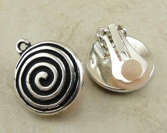 1 Pair TierraCast Spiral Clip On Beadable Earring > Celtic Swirl DIY Tribal Zen - Silver Plated Lead Free Pewter I ship Internationally 4007