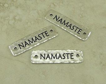 3 TierraCast Namaste Link Bars > Greeting Zen Yoga Spiritual Leather - Fine Silver Plated Lead Free Pewter - I ship Internationally 3188