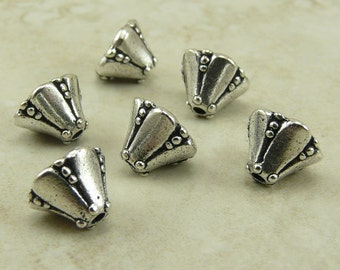 6 TierraCast Small Bell Flower Bead Caps Cones - Silver Plated LEAD FREE pewter - I ship internationally 5664