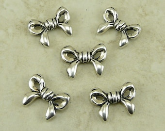TierraCast Ribbon Bow Beads - Silver Plated LEAD FREE pewter - I ship internationally 5610