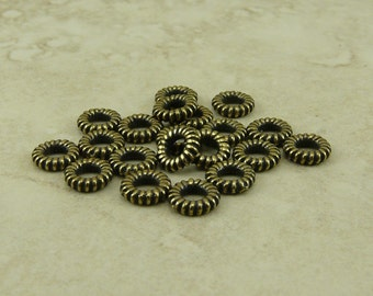 Coiled Ring Bead or Connector Qty 20 TierraCast 6mm Small Large Hole Bead > Brass Ox Plated LEAD FREE Pewter - I ship Internationally NP