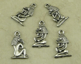 5 Egyptian Cleopatra with Asp Snake Charms > Egypt Queen Nile - Raw American made Lead Free Pewter Silver Finish - I ship internationally
