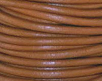 "2mm Round Tahiti Brown Leather Lace Cord - 2mm 3/32"" Camel Diameter Craft Jewelry Bracelet Wrap Necklace - I ship Internationally"