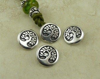3 TierraCast Bird in a Tree Buttons > Earth Day Bodhi Zen Mother Nature Peace - Silver Plated LEAD FREE Pewter - I ship Internationally 6577