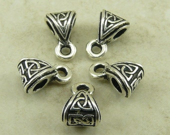5 TierraCast Celtic Knot Bails > Irish St Patricks Day Triquetra Triangle Triad - Silver Plated LEAD FREE pewter I ship Internationally 5513