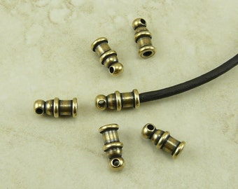 Leather Cord Ends 2mm Pagoda TierraCast Qty 6  > Brass Ox Oxide Finish Plated Lead Free Brass - I ship Internationally NP