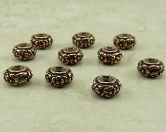 Meadow Flower Spacer Beads - Floral Daisy Garden TierraCast Qty 10 - Copper Plated LEAD FREE Pewter - I ship Internationally NP