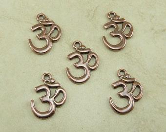 5 Large TierraCast Om Ohm Aum Pendant Charms * Yoga Mantra Meditation - Copper Plated Lead Free Pewter - I ship Internationally NP