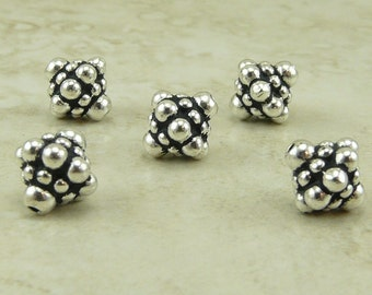 Ornate Bicone Pamada Bali Style Beads Qty 5 - TierraCast Silver Plated Lead Free pewter - I ship internationally NP