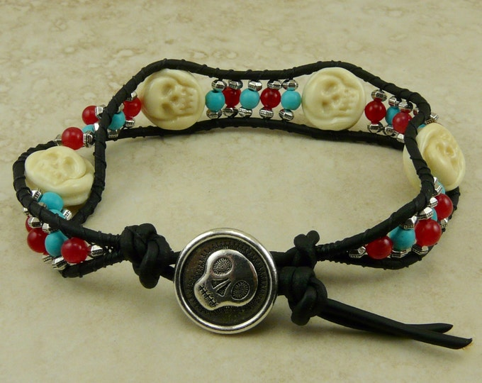 Featured listing image: Skully Lampwork Bead Bracelet > Day of the Dead Halloween Skeleton Dia de los Muertos - Carnelian Turquoise Silver I ship Internationally