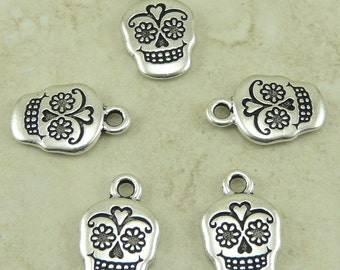 Sugar Skull Day of the Dead Charms > Muertos Halloween Celebrate Qty 5 - TierraCast Silver plated Lead Free Pewter I ship Internationally NP