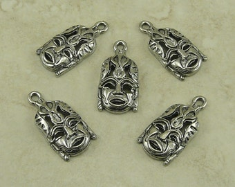 5 Tribal Mask Charms > Raw American Made Lead Free Pewter Silver Finish - I ship internationally