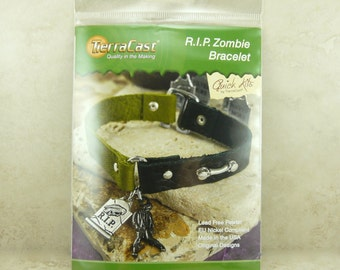 RIP Zombie Bracelet - TierraCast Quick Kit - Leather Walking Dead Apocalypse DIY - American Made Lead Free Pewter - I ship Internationally