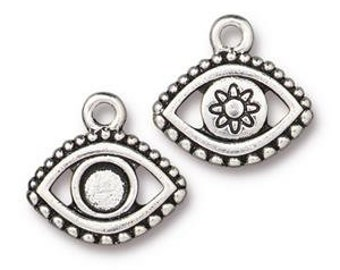 Evil Eye Charm > Curse Protection Amulet Talisman Greece Egypt Qty 5 TierraCast Silver Plated Lead Free pewter I ship Internationally NP