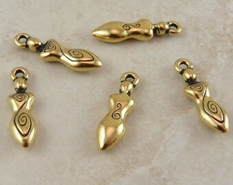 Spiral Goddess Charms TierraCast Qty 5 > Celtic Devine Feminine Mother - 22kt Gold Plated LEAD FREE Pewter - I ship Internationally NP
