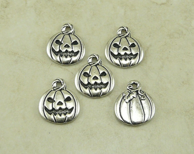 Featured listing image: Pumpkin Jack O Lantern Charms > Halloween Trick or Treat Qty 5 - TierraCast Silver Plated Lead Free Pewter - I ship Internationally NP