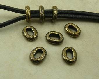 5 Distressed Oval Hammertone Hammered Small Barrel Slide Spacer Beads * Brass Ox Plated Lead Free Pewter - I ship Internationally NP